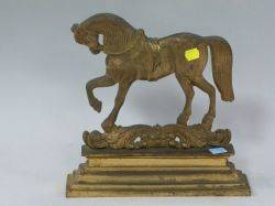 Neoclassical Gilt Cast Iron Horse Doorstop