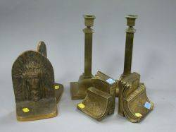 Pair of Bronze American Indian Chief Bookends a Pair of Giltmetal Book Bookends and a Pair of Brass Plated Candlesticks