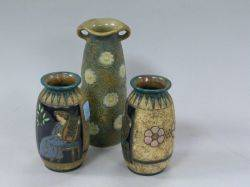 Three Amphora Enamel Decorated Ceramic Vases
