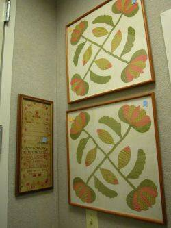 Two Framed Cotton Quilt Applique Blocks and a Framed 1816 Needlework Sampler