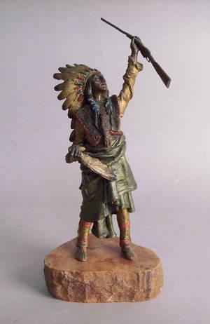 Bronze figure of a Native American after Kauba