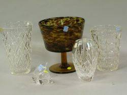 Three Colorless Cut Glass Vases a Tortoise Shell Colored Glass Compote and a Steuben Rabbit