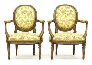 Pair of Fine French Louis XVI Style Fauteuils
