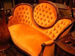 Victorian Upholstered Walnut Settee