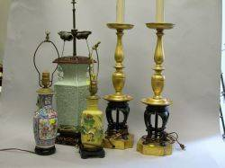 Pair of Giltmetal Table Lamps and Three Asian Porcelain Table Lamps
