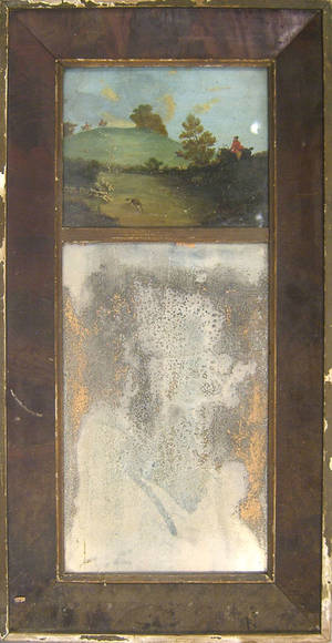 Empire mahogany mirror with an oil on canvas panel depicting a fox hunt