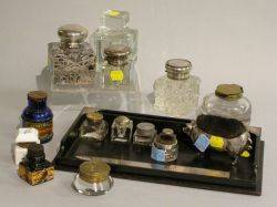 Assortment of Sterling Silver Mounted Ink Bottles Tray and Desk Accessories