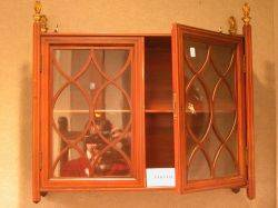 Regencystyle Glazed Inlaid Mahogany Wall Cabinet and a Pair of Chippendalestyle Mahogany Wall Shelves
