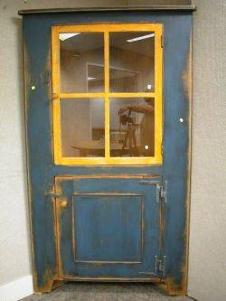 Countrystyle Glazed Blue and Yellow Painted Wooden Corner Cupboard