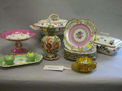 Fortyfour Pieces of Continental and English Decorated Pottery and Porcelain