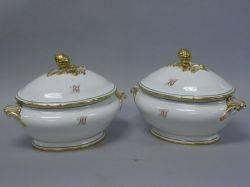 Pair of Paris Porcelain Gilt Decorated Covered Tureens