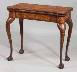 Dutch Rococostyle Fruitwood Foliate Marquetry Inlaid Mahogany Game Table