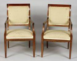 Pair of French Empire Revival Brass Inlaid Mahogany Open Armchairs