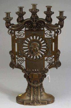 Pair of Bronze Renaissance Revival Five Light Candelabra