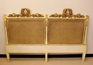 French Carved and Caned King Size Headboard