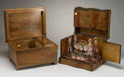 Burlwood Tantalus and Mahogany Tea Caddy