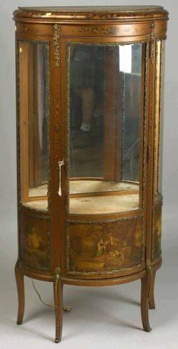 Louis XV Style Gilt Metal Mounted Mahogany and Vernis Martin Vitrine