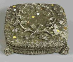 Carved Stone Pillowform Garden Figure