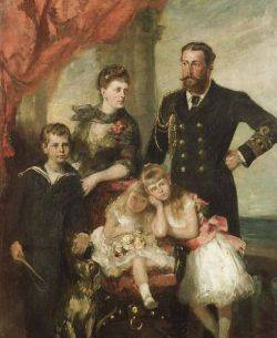 British School 19th Century Duke and Duchess of Edinburgh with Prince Alfred and Two of Their Daughters