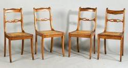 Set of Six Louis XVI Style Walnut Dining Chairs