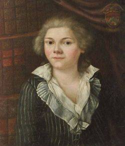 AngloContinental School 18th19th Century Style Portrait of a Woman Seated in a Library