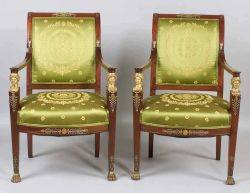 Pair French Second Empire Parcel Gilt and Gilt Bronze Mounted Mahogany Fauteuils