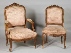 Set of Six Louis XV Style Walnut Dining Chairs