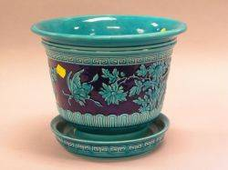 Minton Chinese Blue Glazed Ceramic Jardiniere with Underplate