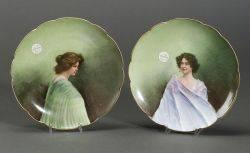 Pair of Limoges Porcelain Portrait Plates