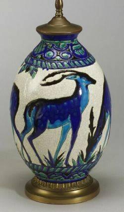 Boch Freres Ceramic Antelope VaseLamp