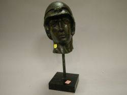 Patinated Bronze Bust of a Classical Warrior