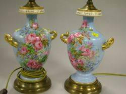 Pair of Gilt Handpainted Floral Decorated Porcelain Urn Table Lamps