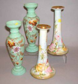 Pair of Floral Decorated Pale Green Bristol Glass Vases and a Pair of Bavarian Handpainted Floral Decorated Porcelain Candlesticks