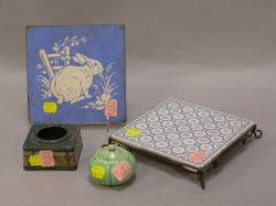 Saturday Evening Girls Pottery Scenic Inkwell Two Minton Ceramic Tiles and an Asian Glazed Porcelain Lotusform Jar