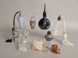 Group of ten perfume bottles and atomizers