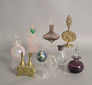 Group of nine perfume bottle and atomizers