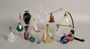 Group of fourteen perfume bottles and atomizers