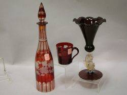 Italian Art Glass Vase and Bohemian Etched Ruby Glass Decanter and Cup