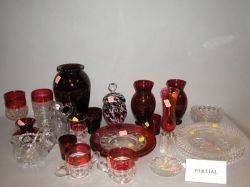Sixtynine Pieces of Assorted Ruby Flash and Colorless Glass Table Items