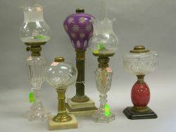 Amethyst and White Cut Overlay Table Lamp and Five Assorted Glass Fluid Lamps