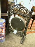 Chinese Hammered Bronze Gong with Carved Hardwood Stand
