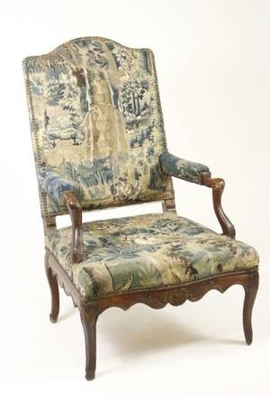 18th C French Fauteuil w17th C Flemish Tapestry