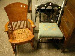 Childs Late Victorian Oak Arm Rocker and Rococo Needlepoint Upholstered Side Chair