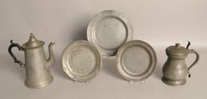 Three English pewter plates
