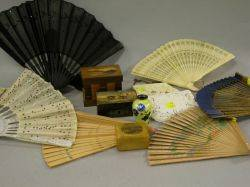 Two Beaded Purses Six Fans Three Marquetry Lithograph and Souvenir Wooden Boxes and a Cloisonne Vase