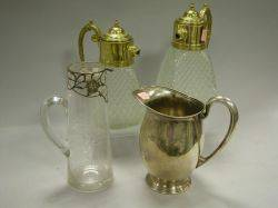 Sterling Silver Pitcher a Pair of Giltmetal Mounted Pressed Glass Carafes and a Si Silver Overlaid Glass Pitcher