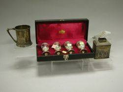 English Sterling Silver Repousse Tea Caddy Set of Twelve Swizzle Sticks Four Plated Cordials and a Mug