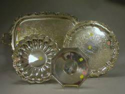 Four Assorted Silver Plated Serving Trays