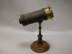 19th Century Brass Ships Wheel Mounted Parlor Kaleidoscope on Wooden Stand