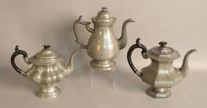 Three pewter coffee pots